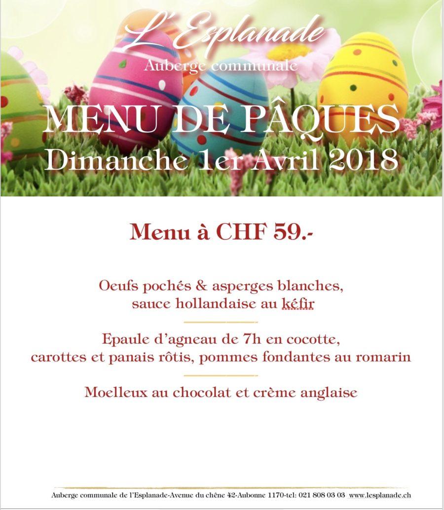 Menu de Pâques Dimanche 1er Avril 2018